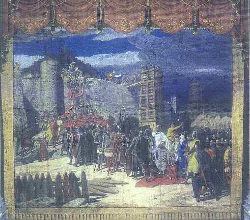 Domenico Bruschi: l'assedio di Amelia da parte dell'imperatore Barbarossa (telone principale del Teatro Sociale: 1880)